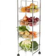 kitchen craft chrome plated four tier trolley