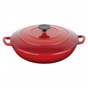 master class cast iron shallow round casserole red